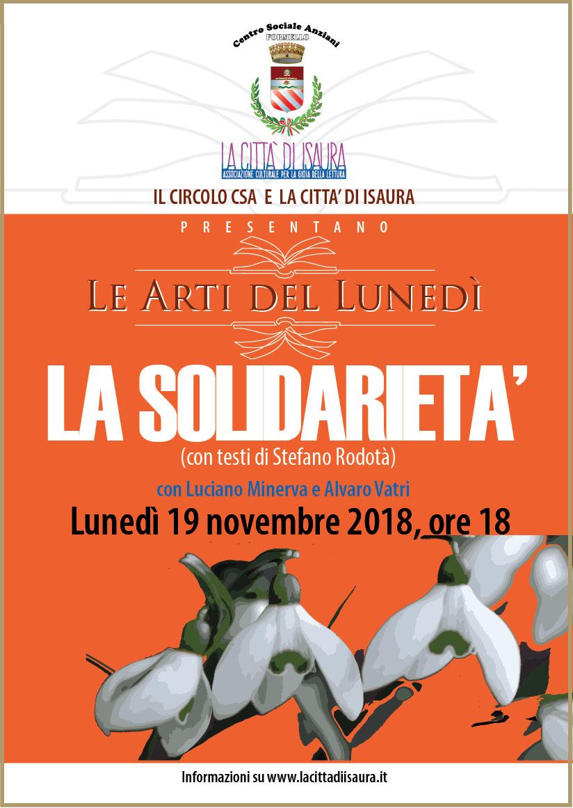Nelle arti del lunedì tocca alla solidarietà