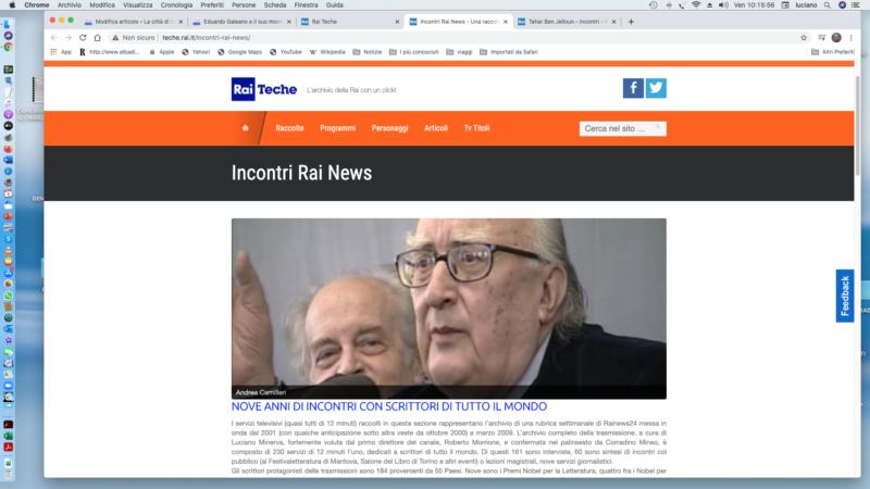 Incontri Rainews nelle Teche Rai: in rete scrittori di tutto il mondo